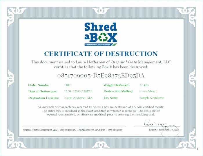 Certificate Of Data Destruction Template Unique to Destruction Certificate Template Data – Chaseevents