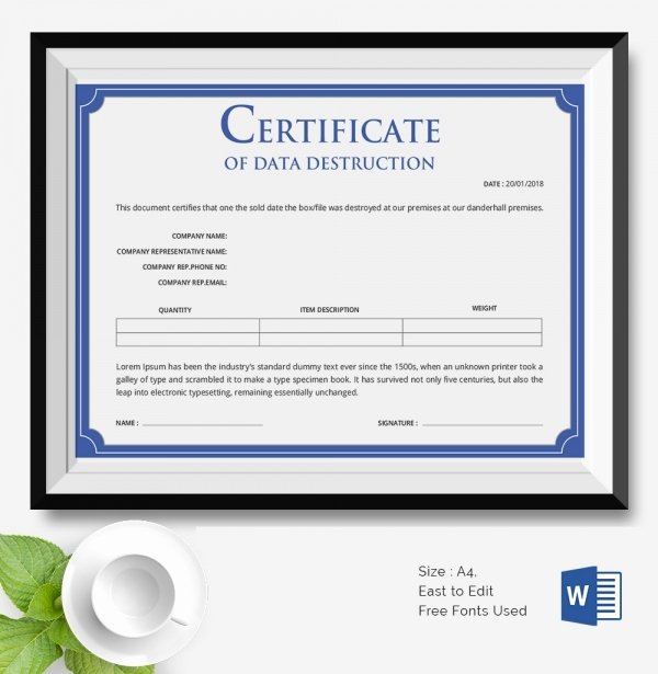 Certificate Of Destruction Template Best Of 25 Certificate Templates