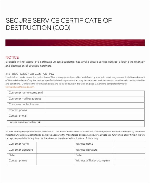 Certificate Of Destruction Template Best Of Certificate Destruction Template 12 Pdf Word Ai