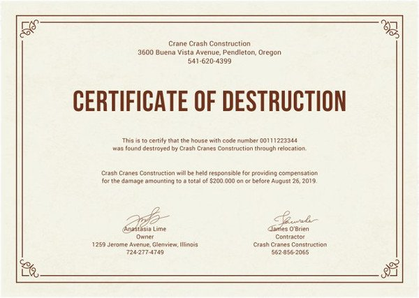 Certificate Of Destruction Template Best Of Printable Certificate Template 35 Adobe Illustrator