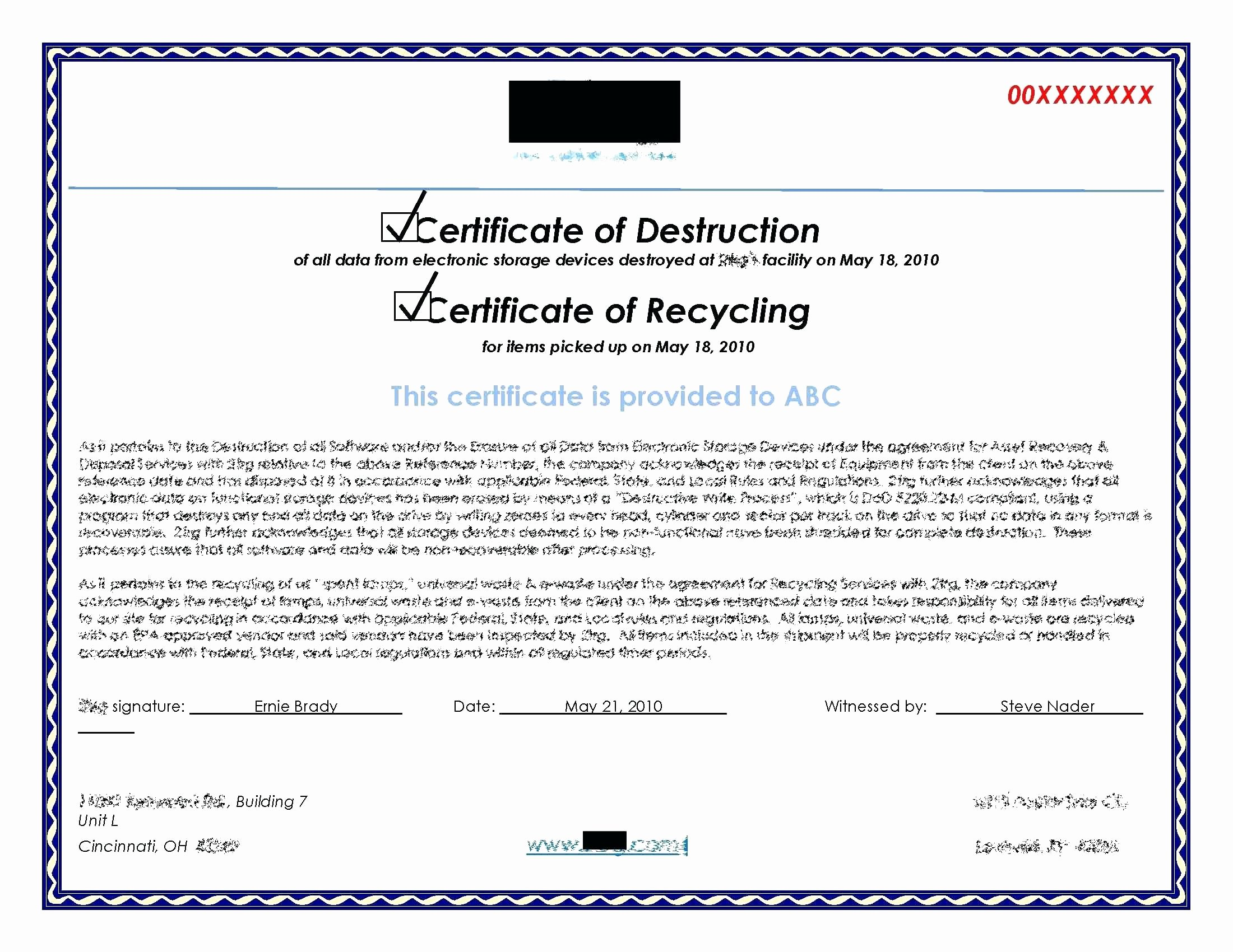 Certificate Of Destruction Template Best Of Template Certificate Recycling Template