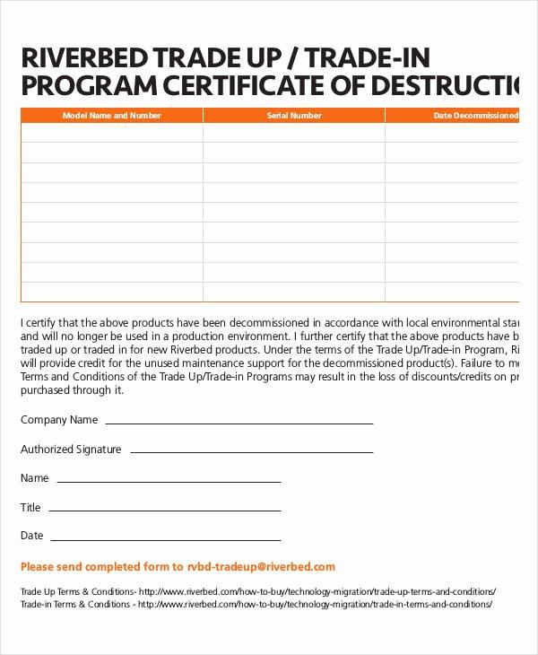 Certificate Of Destruction Template Elegant Certificate Destruction Template 12 Pdf Word Ai