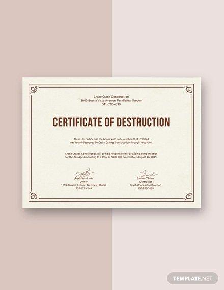 Certificate Of Destruction Template Fresh Certificate Destruction Template 12 Pdf Word Ai