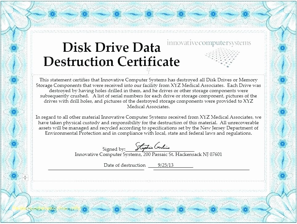 Certificate Of Destruction Template New Certificate Of Data Destruction Template – Obconline