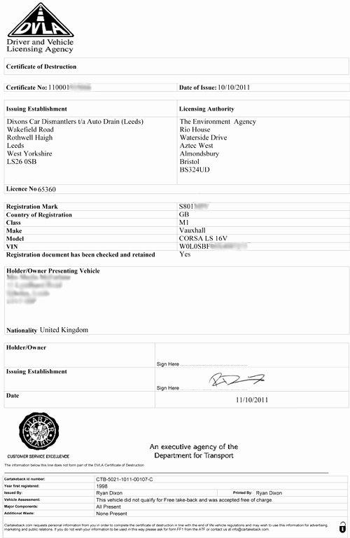 Certificate Of Destruction Template New Scrap Your Vehicle Scrap Car