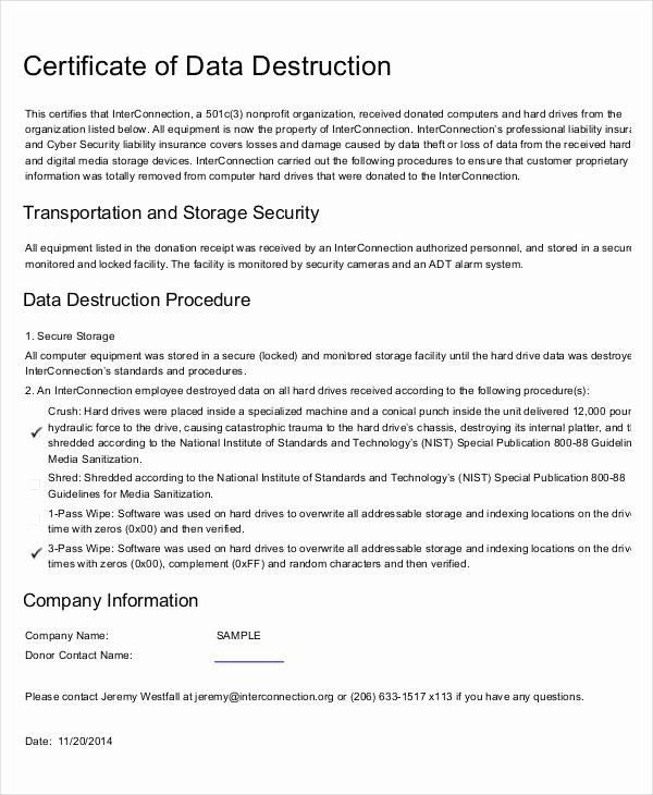 Certificate Of Destruction Template Unique Certificate Destruction Template 12 Pdf Word Ai