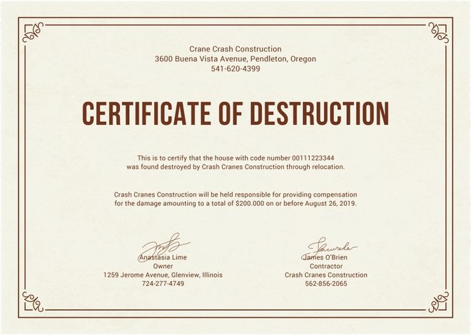 Certificate Of Destruction Template Unique Certificate Destruction Templates 10 Free Pdf format