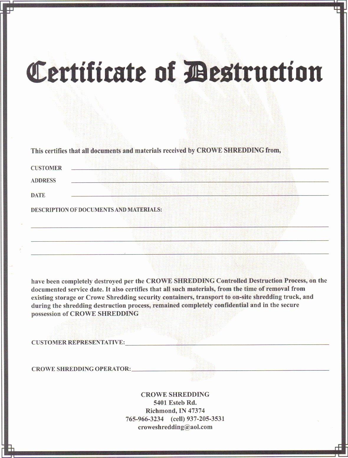 Certificate Of Destruction Template Unique Certificate Of Destruction 2011 Crowe Shredding