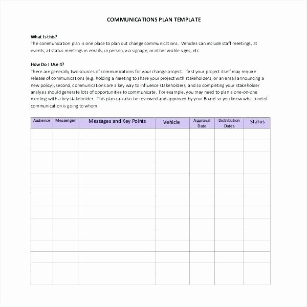Change Management Communication Plan Template Unique Change Management Munications Plan Template Consulting
