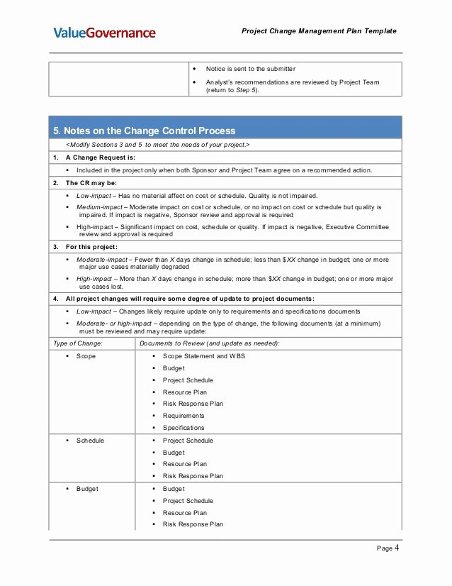 Change Management Plan Template Lovely Pm002 01 Change Management Plan Template