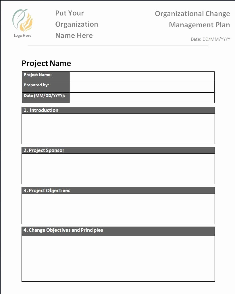 Change Management Plan Template Luxury Plan Templates