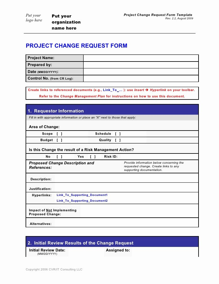 Change Management Template Excel Lovely Change Request form Template