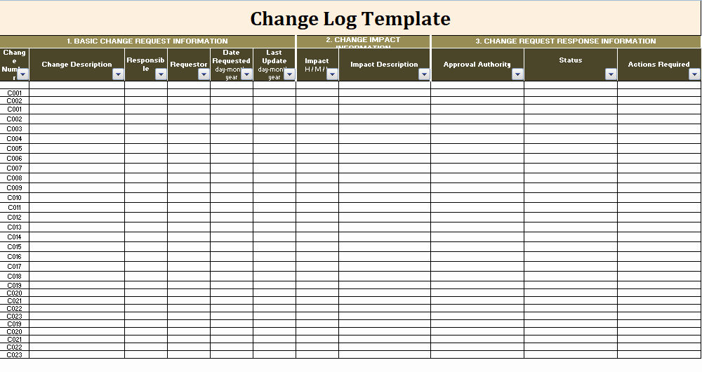 Change Management Template Excel New Change Log Template