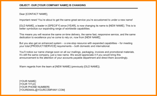 Change Of Management Letter Template Best Of 13 Change Of Pany Name Letter