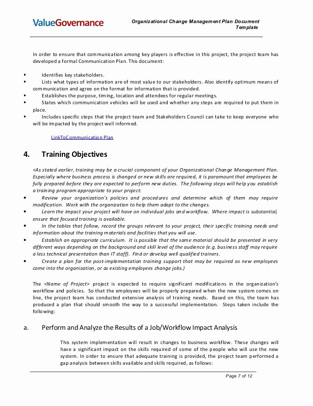 Change Of Management Letter Template New Pm002 02 organizational Change Management Plan