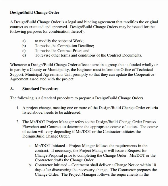 Change order Template for Construction Awesome 11 Change order Samples