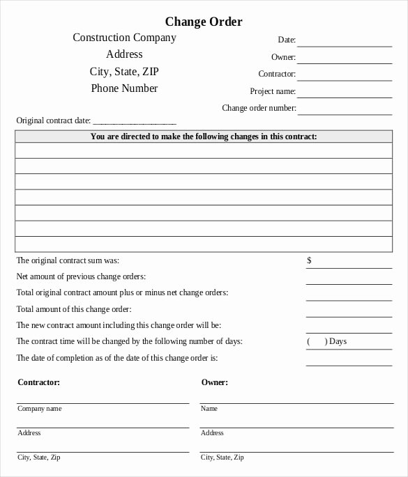 Change order Template for Construction Awesome 24 Change order Templates Pdf Doc