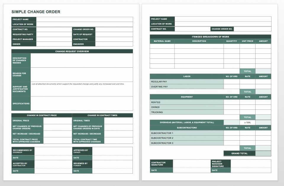 Change order Template for Construction Awesome Plete Collection Of Free Change order forms