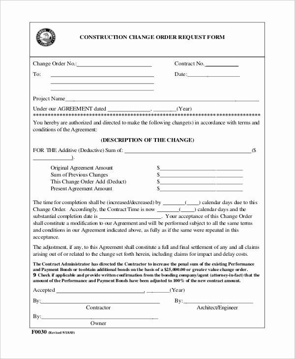 Change order Template for Construction Best Of 7 Sample Construction Change order forms