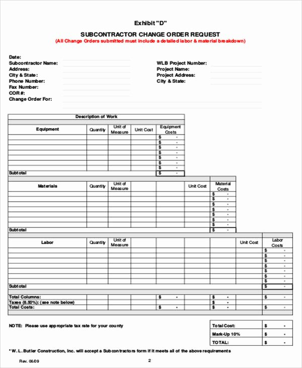 Change order Template for Construction Fresh 8 Sample Change order Request forms