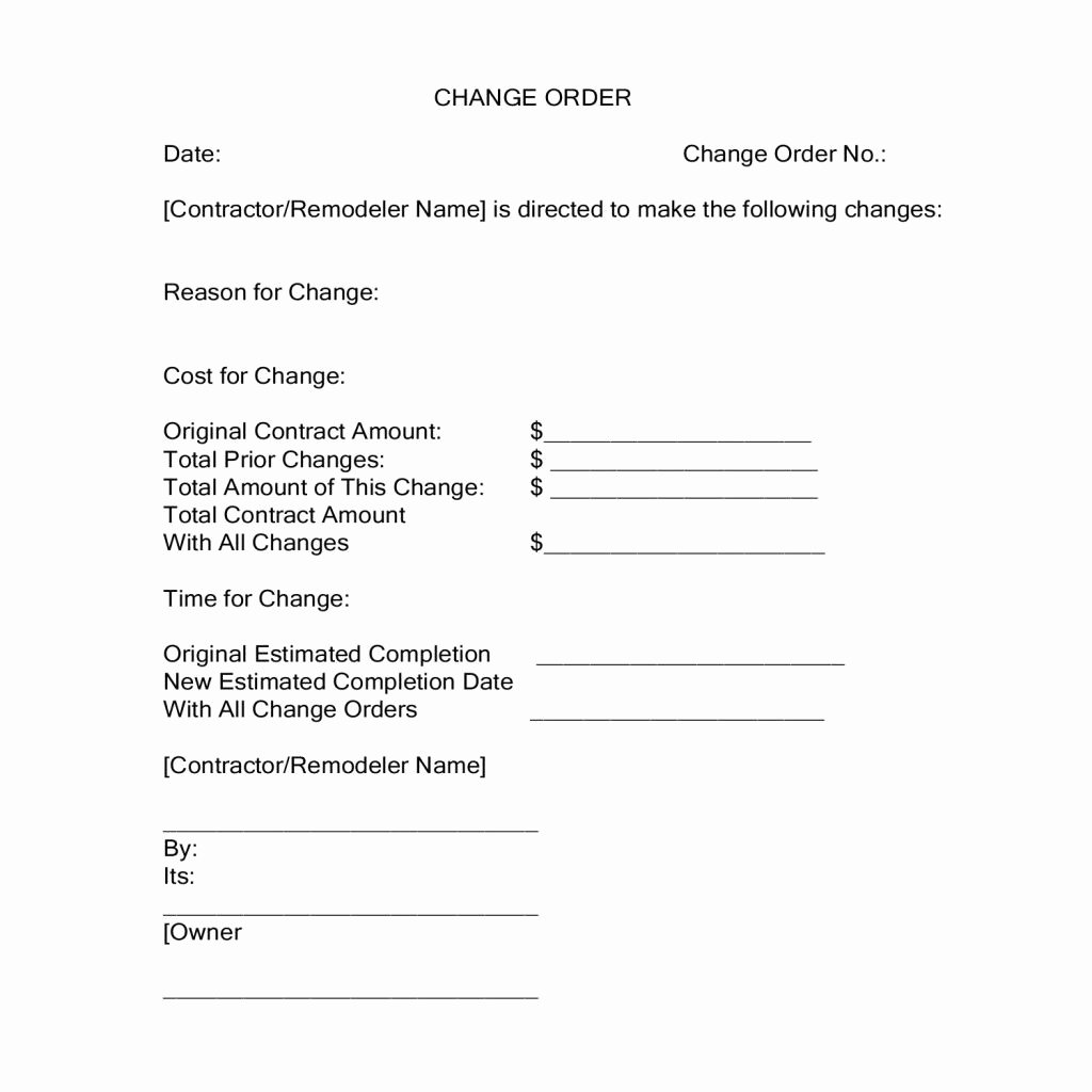 Change order Template for Construction Fresh Change orders During A Construction Project