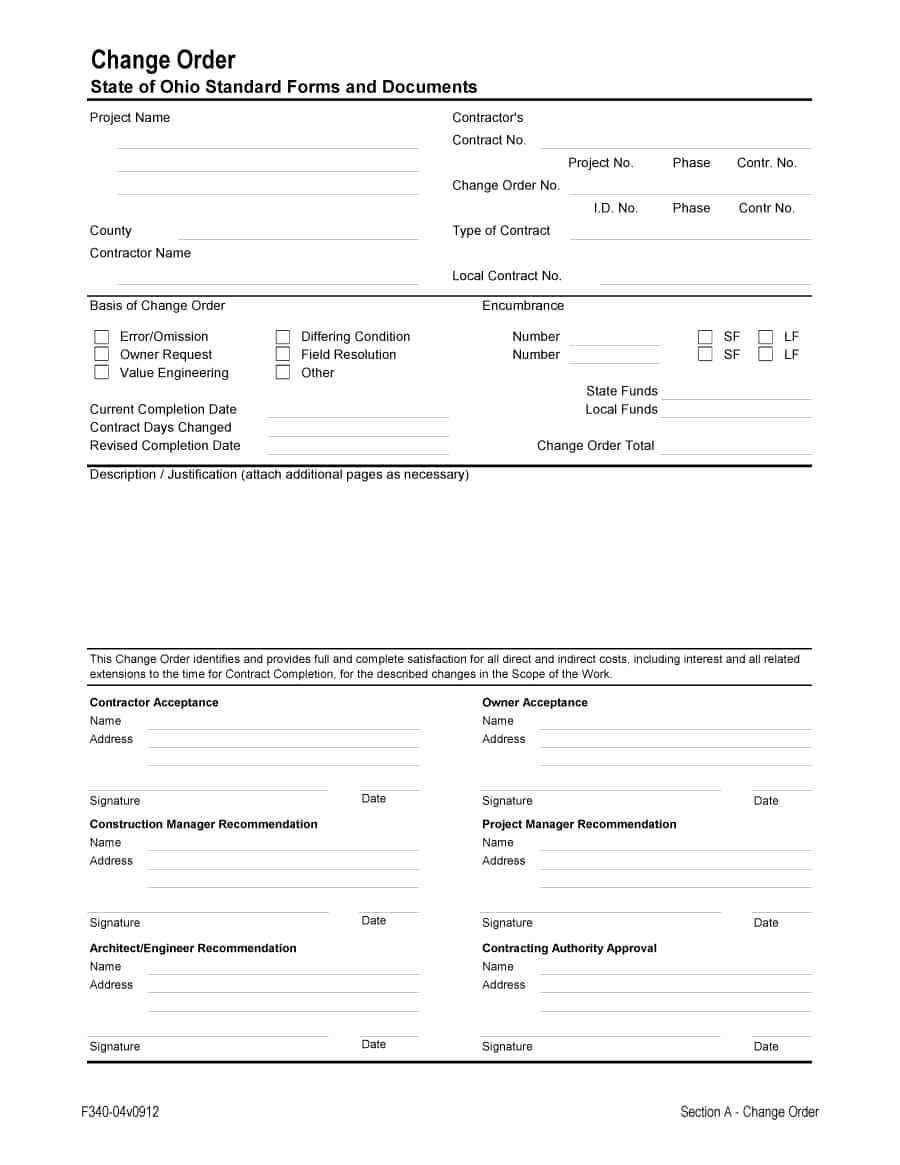 Change order Template for Construction Inspirational 40 order form Templates [work order Change order More]