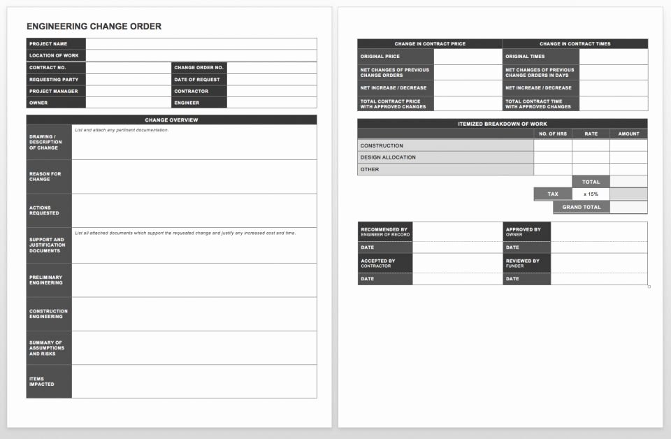 Change order Template for Construction Inspirational Plete Collection Of Free Change order forms