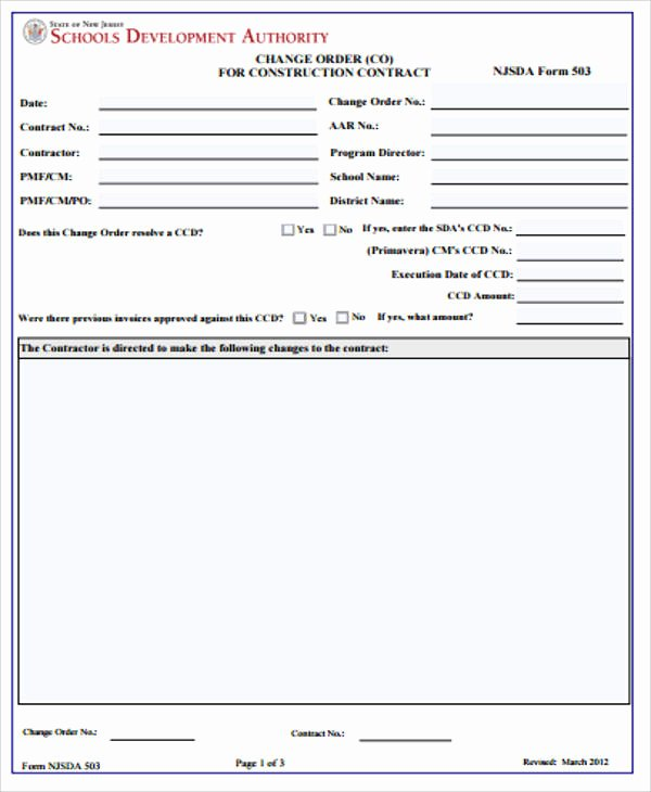 Change order Template for Construction New 7 Sample Construction Change order forms