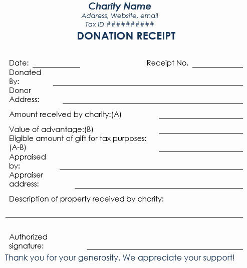 Charitable Contribution Receipt Template Awesome 5 Charitable Donation Receipt Templates Free Sample
