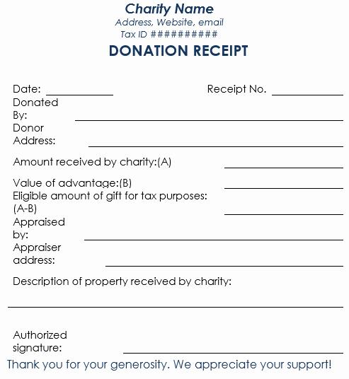 Charitable Contribution Receipt Template Awesome 5 Charitable Donation Receipt Templates Free Sample