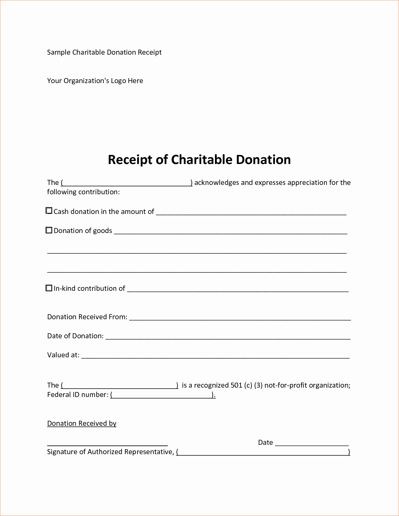 Charitable Contribution Receipt Template Best Of 5 Sample Donation Receipt