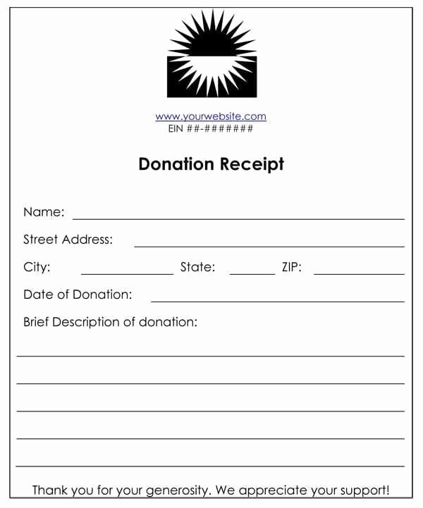 Charitable Contribution Receipt Template Elegant 6 Cash Funds Donation Receipt Templates – Word Templates