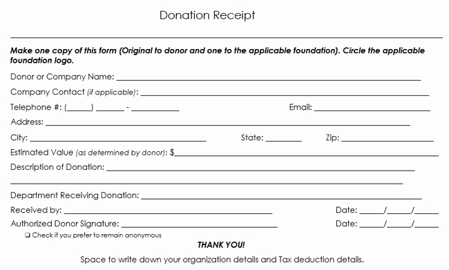 Charitable Contribution Receipt Template Fresh Donation Receipt Template 12 Free Samples In Word and Excel