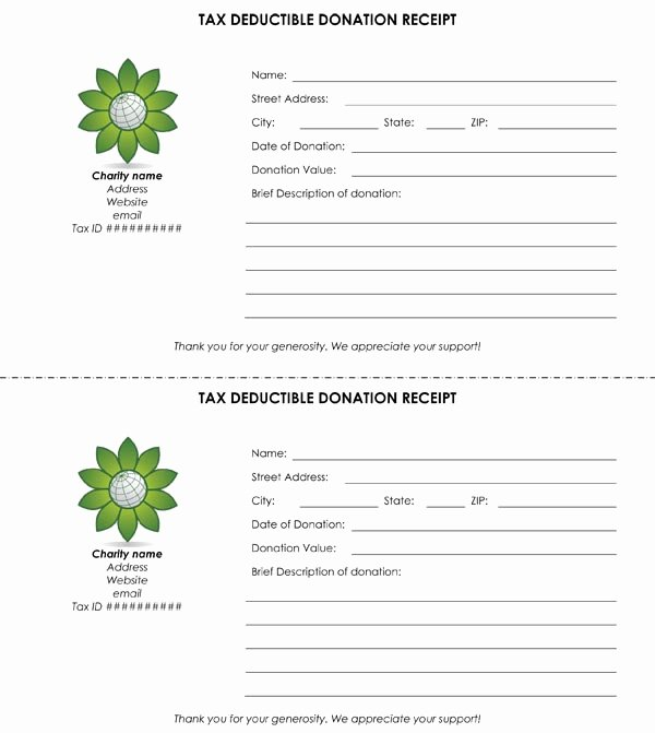 Charitable Contribution Receipt Template Fresh Tax Deductible Donation Receipt