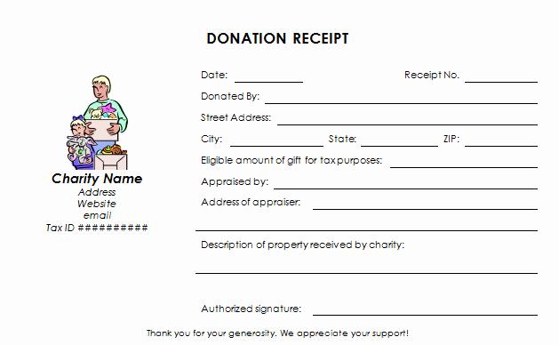 Charitable Contribution Receipt Template Inspirational Charitable Donation Receipt Template