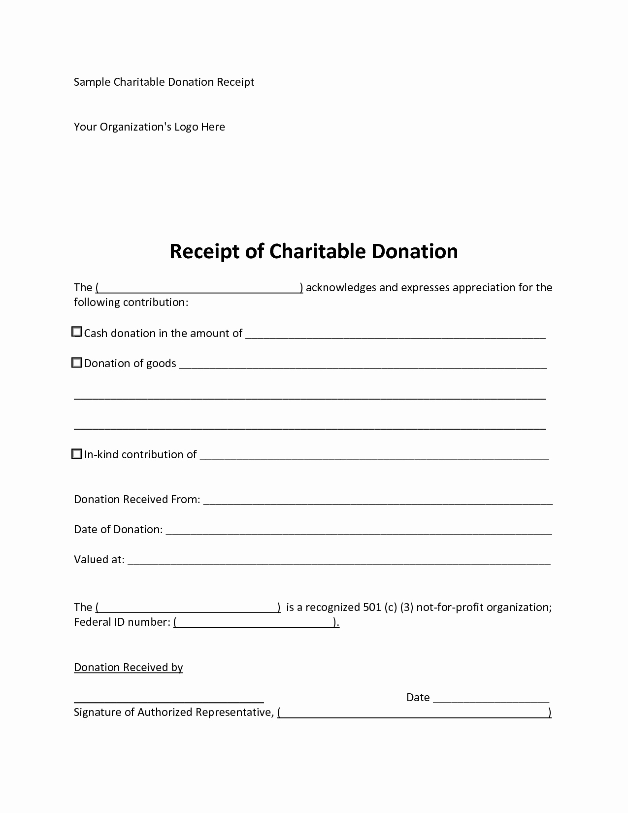 Charitable Contribution Receipt Template Luxury 6 Best Of 501c3 Donation Receipt Template Charity