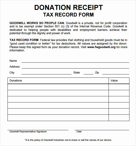 Charitable Contribution Receipt Template New 10 Donation Receipt Templates – Free Samples Examples