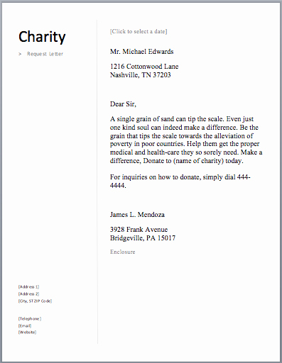 Charitable Donation Letter Template Awesome Sample Charity Letter Free Letters asking for Donations