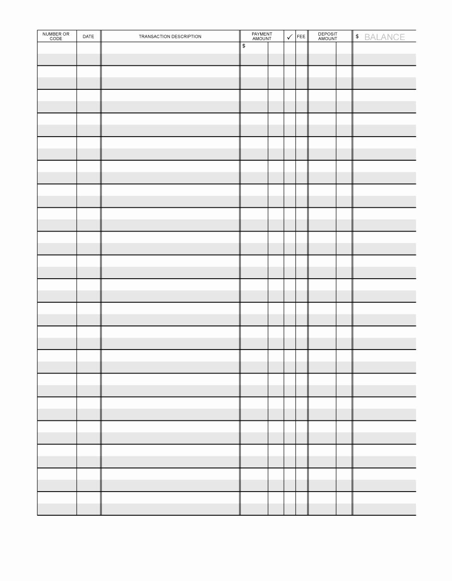 Check Register Template Printable Lovely 37 Checkbook Register Templates [ Free Printable