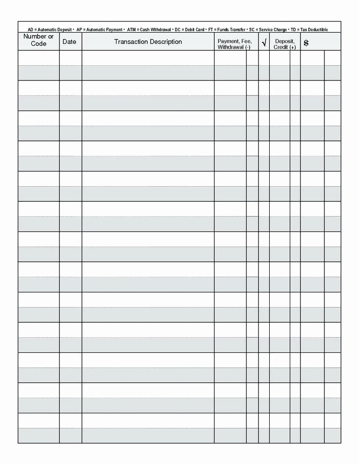 Check Register Template Printable New Checkbook Register Printable Check Full Page Pages