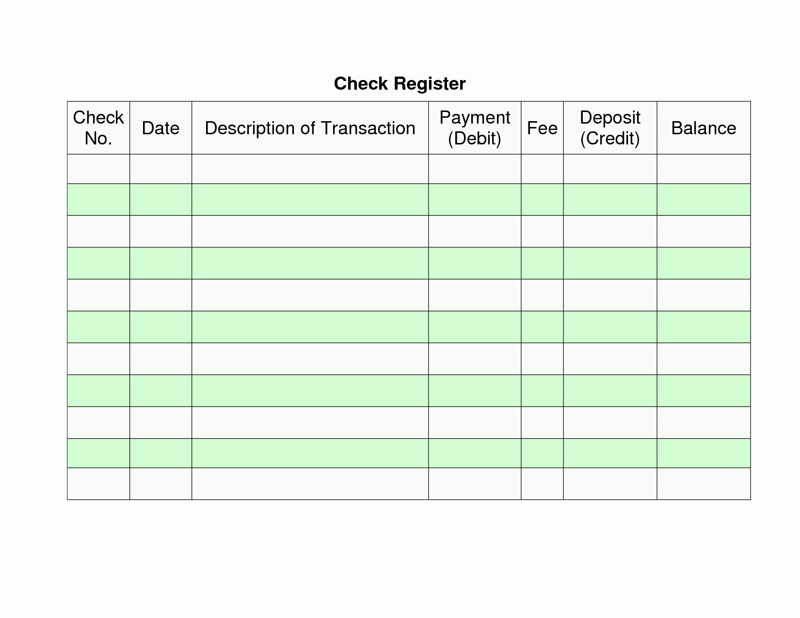 Check Register Template Printable Unique 7 Best Of Personal Check Register Printable Free