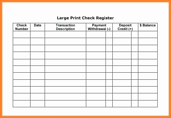 Check Register Template Printable Unique Blank Check Register Template Printable Checkbook
