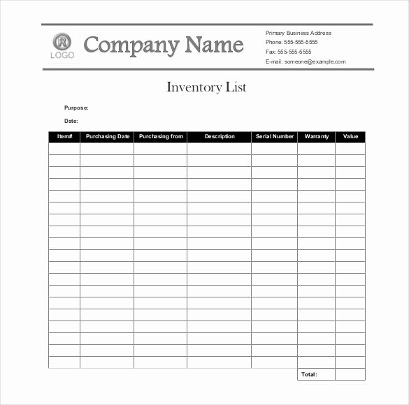 Chemical Inventory List Template Best Of Sample Inventory List 30 Free Word Excel Pdf