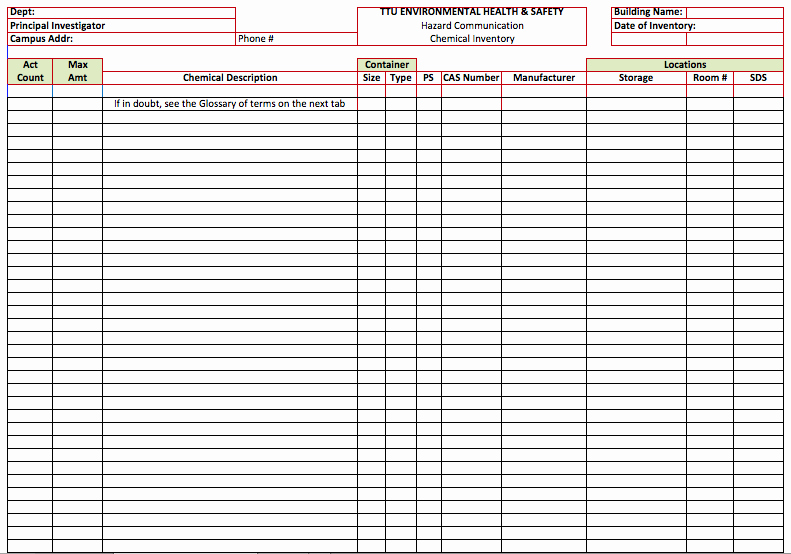 Chemical Inventory List Template Fresh Chemical Inventory List Template Microsoft Fice Templates