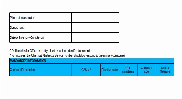 Chemical Inventory List Template Inspirational 15 Chemical Inventory Templates – Free Sample Example