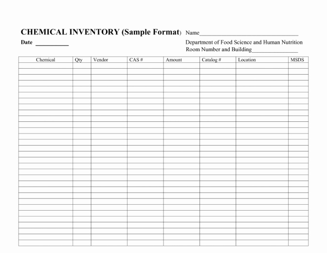 Chemical Inventory List Template Lovely Chemical Inventory Spreadsheet Csserwis org Laboratory for