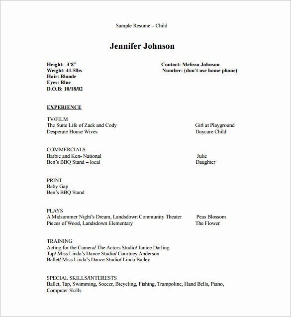 Child Actor Resume Template Awesome Acting Resume Template 7 Free Word Excel Pdf format