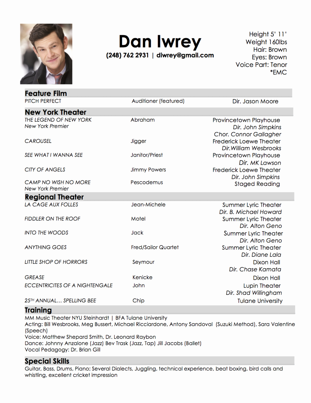 Child Actor Resume Template Beautiful Audition Resume