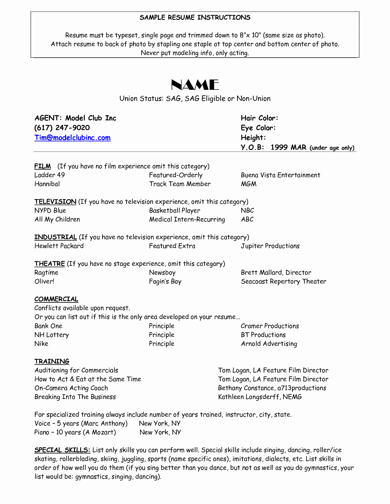 Child Actor Resume Template Beautiful Resume for Child Actor Scope Of Work Template