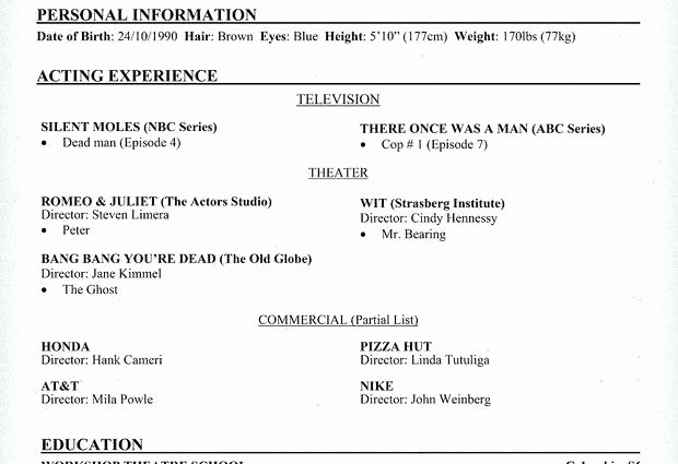 Child Actor Resume Template Best Of Child Actor Resume – Letsdeliver